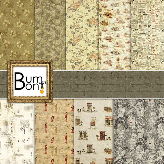 Vintage Digital paper pack, Digital paper scrapbook, paper mega pack Shabby Chic, digital background, scrapbook background paper Shabby