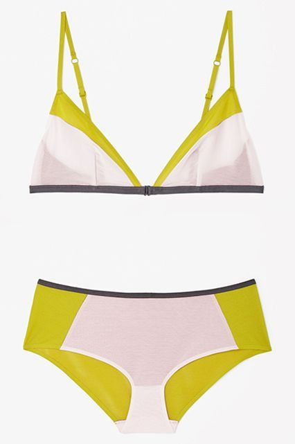 Non-Lacy Lingerie That's Still Super Sexy #refinery29  http://www.refinery29.com/non-lace-lingerie#slide-16  The Sweet SpotBubble-gum pink and mustardy yellow may not sound super appetizing. But the colorblock effect (anchored by a dark-gray trim on both the bralette and the brief) is the right kind of weird. ...