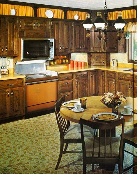 The iconic 70s kitchen. Formica, linoleum, gold, green, stripes ...