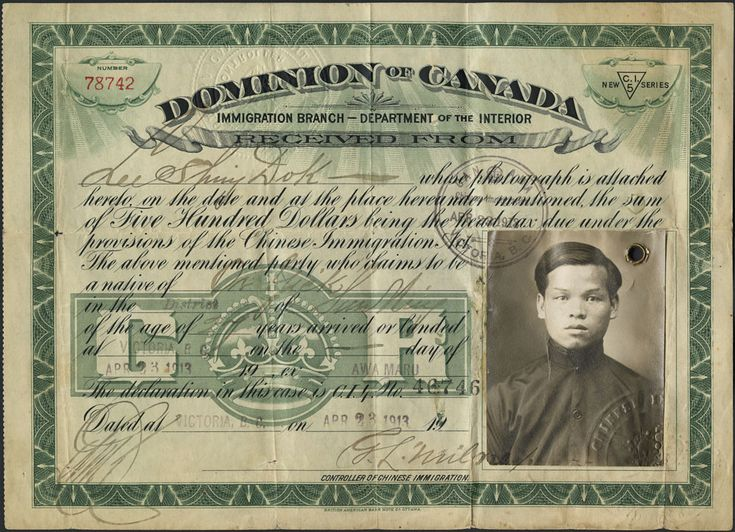 """Circa 1900 (Date unknown). B.C, Canada. Sample immigration certificate. The Canadian government had imported Chinese workers to work on the Canadian Pacific Railway. However, they were paid a lot less than the white workers. In the 1871 census, approximately 3,000 out of 33,600 immigrants were Chinese. In 1885, all Chinese immigrants had to first pay a $50 fee, and was raised to $500 in 1903. This is commonly referred to as the """"Chinese Head Tax"""". -Richard"""