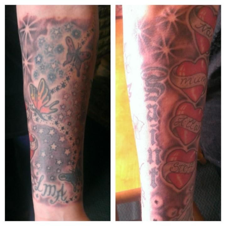 front and back of family half sleeve x
