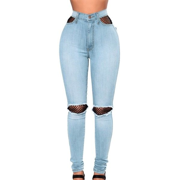 Light Blue Fishnet Splice High Waist Jeans ($30) ❤ liked on Polyvore featuring bottoms, pants, high-waisted jeans, skinny jeans, high waisted ripped skinny jeans, distressed skinny jeans and super skinny jeans