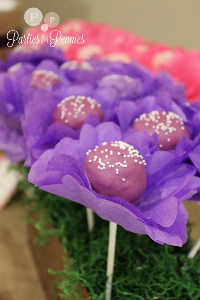 tissue paper flower cake pops