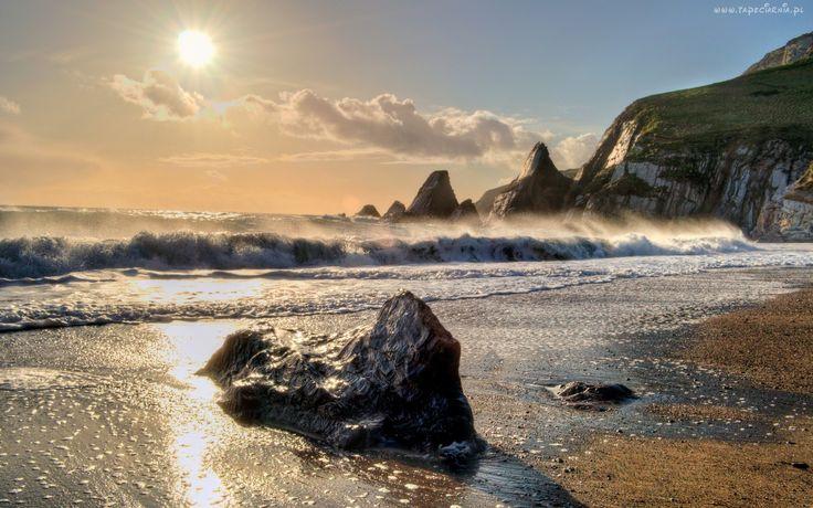 Morze, Promienie, Słońca, Skały, Kamienie, Klif