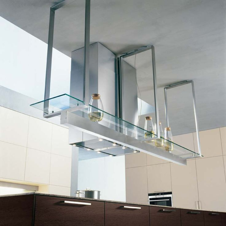 Suspended Glass Shelves In Kitchens
