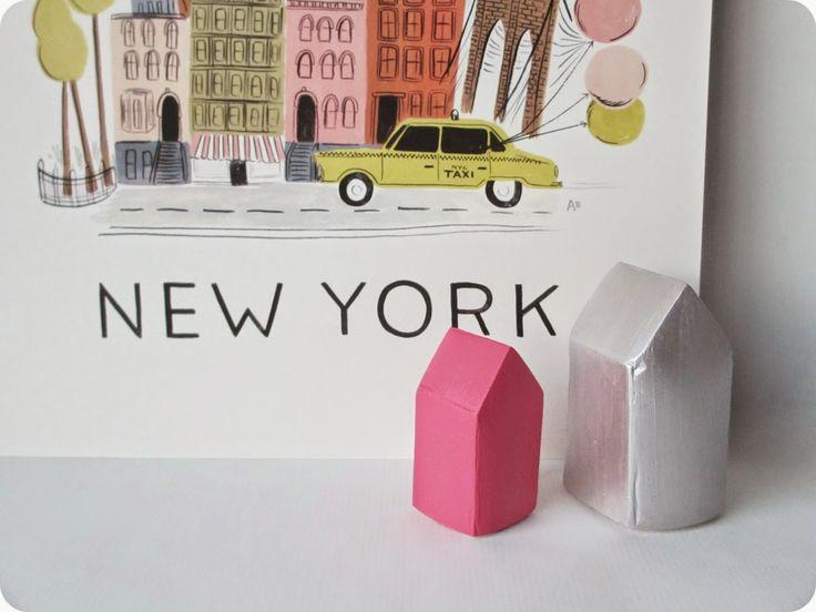 DIY - Petites maisons scandinaves en plâtre à réaliser avec deux patrons fournis (par *Tadaam!)