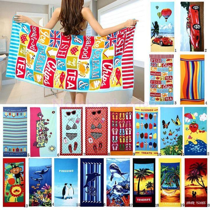 Various Pattern Printed Drying Towel Beach Swim Bath Towel Washcloth 70X150Cm