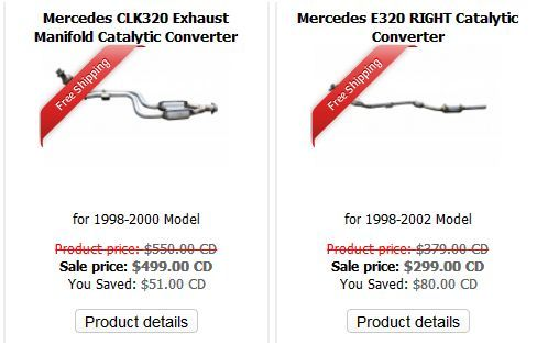 Genuinely priced and quality tested Mercedes CLK320 Exhaust Manifold Catalytic Converter, Mercedes E320 RIGHT Catalytic Converter and Mercedes E320 4Matic LEFT Catalytic Converters for 1998-2002 models are available in stock at Muffler Express, Toronto- the premium online store dealing with reputed Mercedes Catalytic Converter manufacturers.