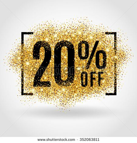 Gold sale 20% percent on gold background. Gold sale background for flyer…