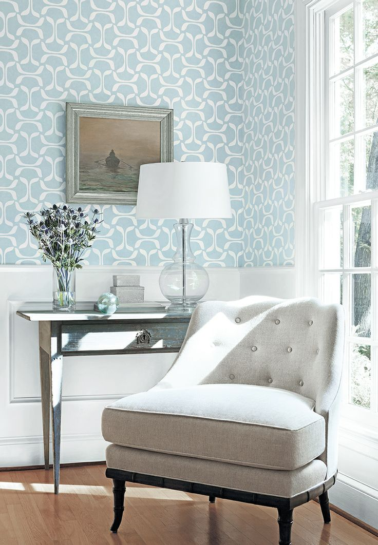 Saroka #wallpaper in Blue, Brentwood Chair in Oatmeal woven #fabric in Neutral #thibaut