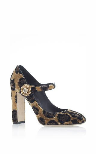 A luxuriantly textured velveteen leopard print provides the basis for  **Dolce & Gabbana**'s exquisite take on classic Mary Janes.