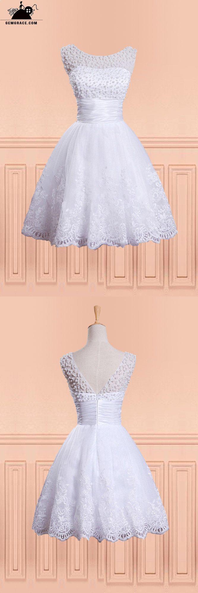 138 99 Vintage Chic Beaded Pearls Fun Short Wedding Dress With Beading Round Neck E9853 Gemgrace Com Short Wedding Dress Short Wedding Dress Vintage Short Wedding Dress Beach [ 2000 x 667 Pixel ]