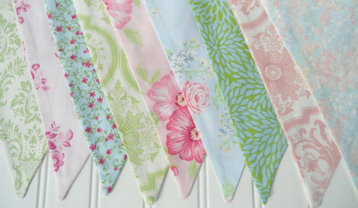 Shabby Chic Bunting Fabric Flags Banner Pennants - Girl's Birthday Party, Room Decor, Nursery, Wedding, Photo Prop - PINK BLUE GREEN by MariaClaireInteriors on Etsy https://www.etsy.com/listing/108882304/shabby-chic-bunting-fabric-flags-banner