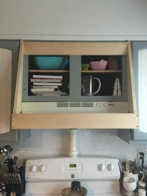 How to cover your ugly range hood with barn wood and keep the cabinet underneath