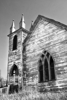 Abandoned Church    An old church found on the Canadian prairies in the town of Laura, Saskatchewan.
