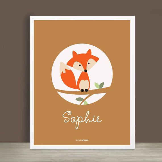 Custom Baby Print Forest Friends Fox 8.5 x 11 by SimpleShapes, $22.00