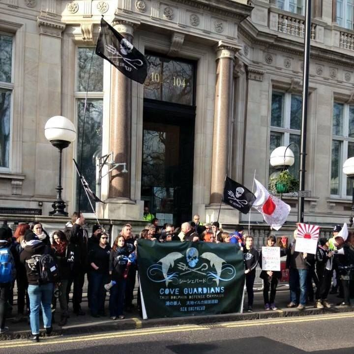 Protesters outside the Japanese Embassy in London today.. Sea Shepherd volunteers from the UK, Netherlands and many veteran Cove Guardians were in attendance protesting alongside individuals and representatives of many other campaign groups all making some noise for the Dolphins captured and killed in Taiji, Japan.  #Japan #Dolphins #London #Breaking #Protest #CoveGuardians  https://www.facebook.com/gentiana.resnjaku/posts/1077238732299159