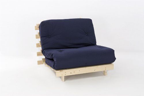 3ft LUXURY Single (90cm) Wooden Futon Set with PREMIUM LUXURY Navy Mattress