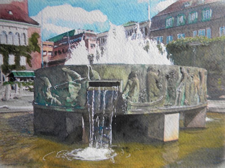 Torgbrunnen på Stora torget i Borås