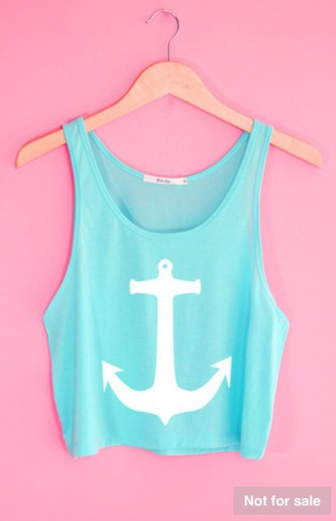 Blue white anchor vest top