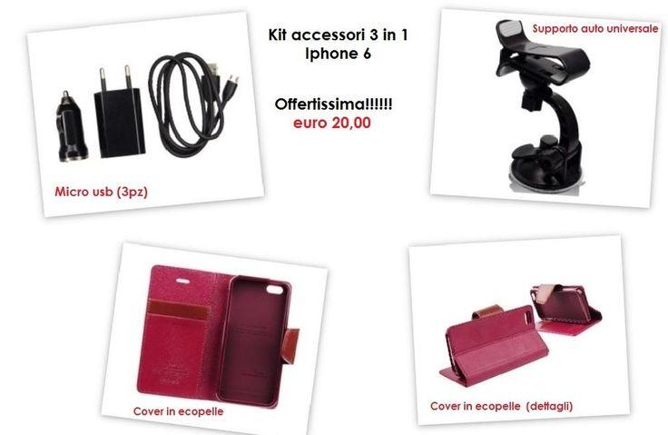 Kit accessori per iPhone 6 plus - 3 in 1 -  MICRO USB / SUPPORTO AUTO / COVER