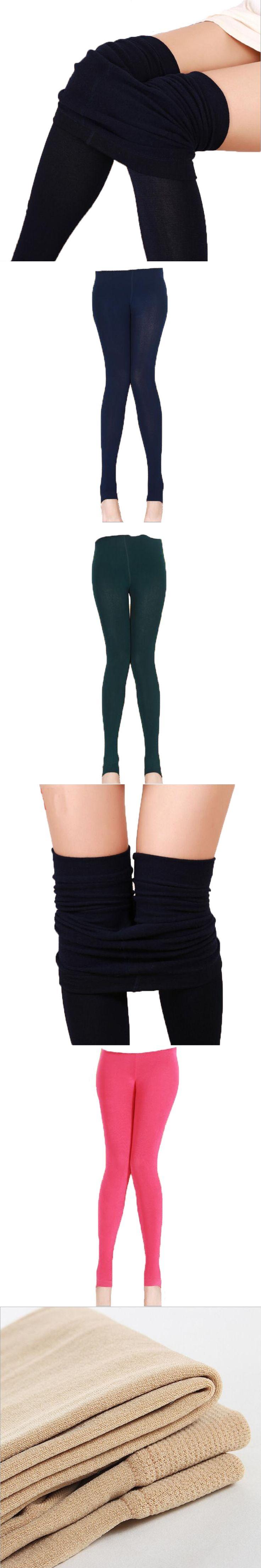 Winter 2017 Plus Velvet Thick Women Cotton Long pants High Waist Solid leggings Elastic Skinny Knitted Ankle Length Full Legging