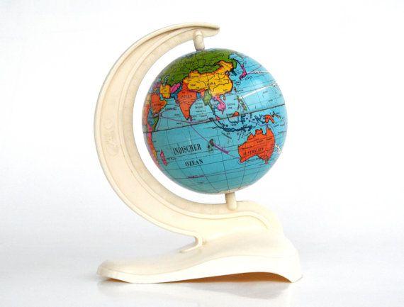 Miniature desk globe west german globus retro sixties by Coollect