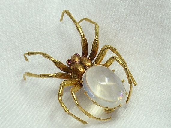 Antique Yellow Gold Moonstone Spider Brooch~Circa 1910-15. There was a Renaissance of Bugs just about 1915,