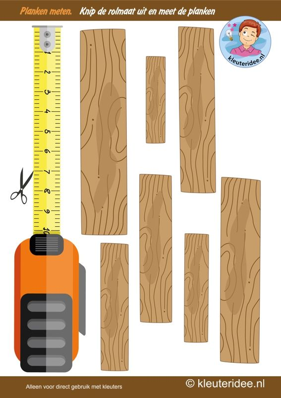 Meet de lengte van de planken, thema bouw een huis, kleuteridee, Kindergarten measurement free printable.