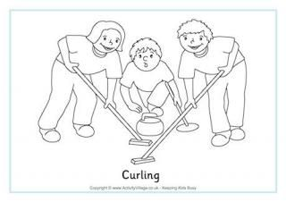 Winter Olympics Colouring Page. We could really have fun with the colorful curling outfits.