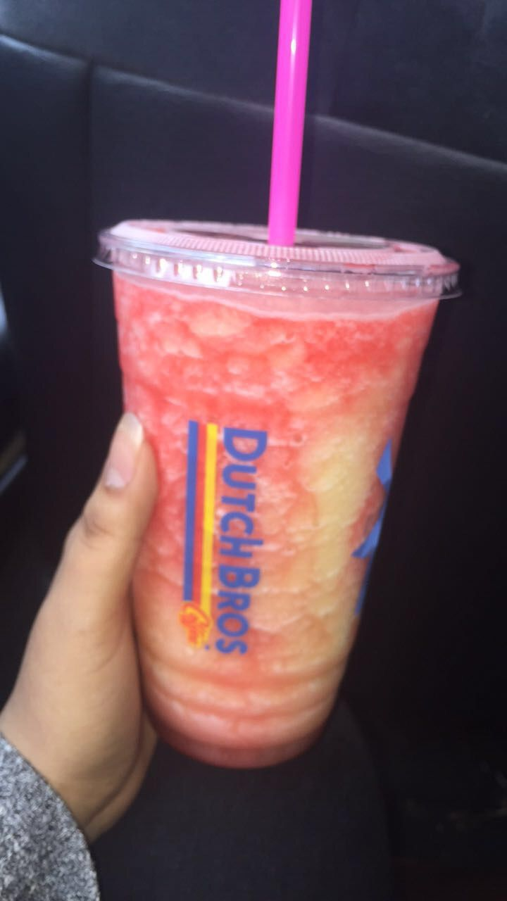 Passion peach coconut with pomegranate drizzle blended rebel