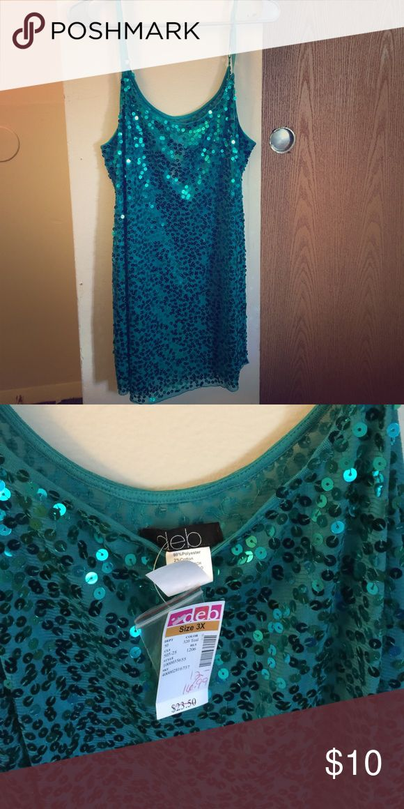 Sheer teal top with sequins Never worn sheer top from Debs clothing store Tops Tank Tops