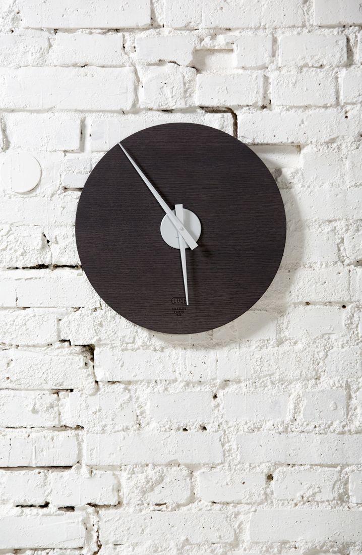 Kolo Clock 440 mm - Stained Oak & Aluminium Designed and produced by LUGI