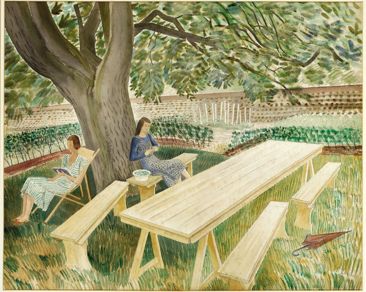 [ψO] [ψO] : Two Women Sitting in a Garden : Eric Ravilious