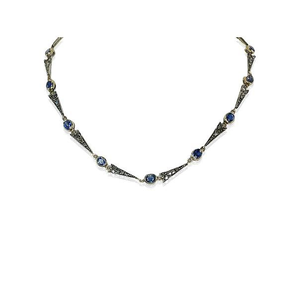 Sapphire Diamond Necklace  Saphir-Diamant Halskette mit 6,771ct Saphiren und 1,034ct Altschliff Diamanten