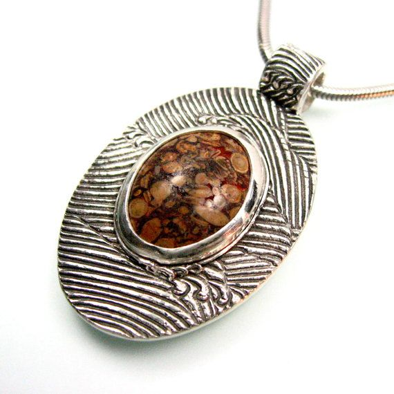 Oval Fine Silver Pendant with Fossil Cabochon by TheSilverPendant