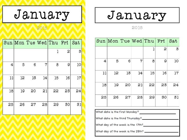 calendars to fill in