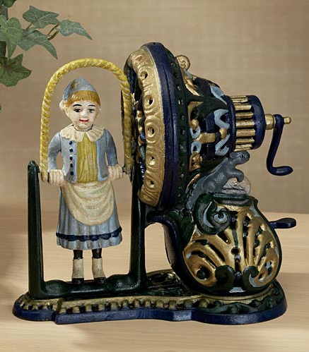 Very rare girl jumping rope mechanical bank. Replica, original was from c.1890