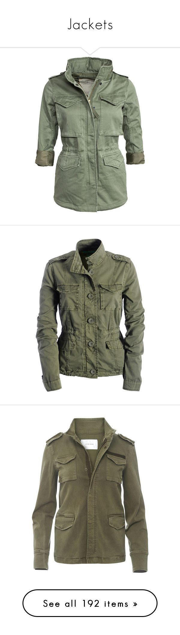 """""""Jackets"""" by mrseclipse ❤ liked on Polyvore featuring outerwear, jackets, tops, coats, army olive, womens-fashion, zipper jacket, green military jacket, olive green army jacket and army green jacket"""