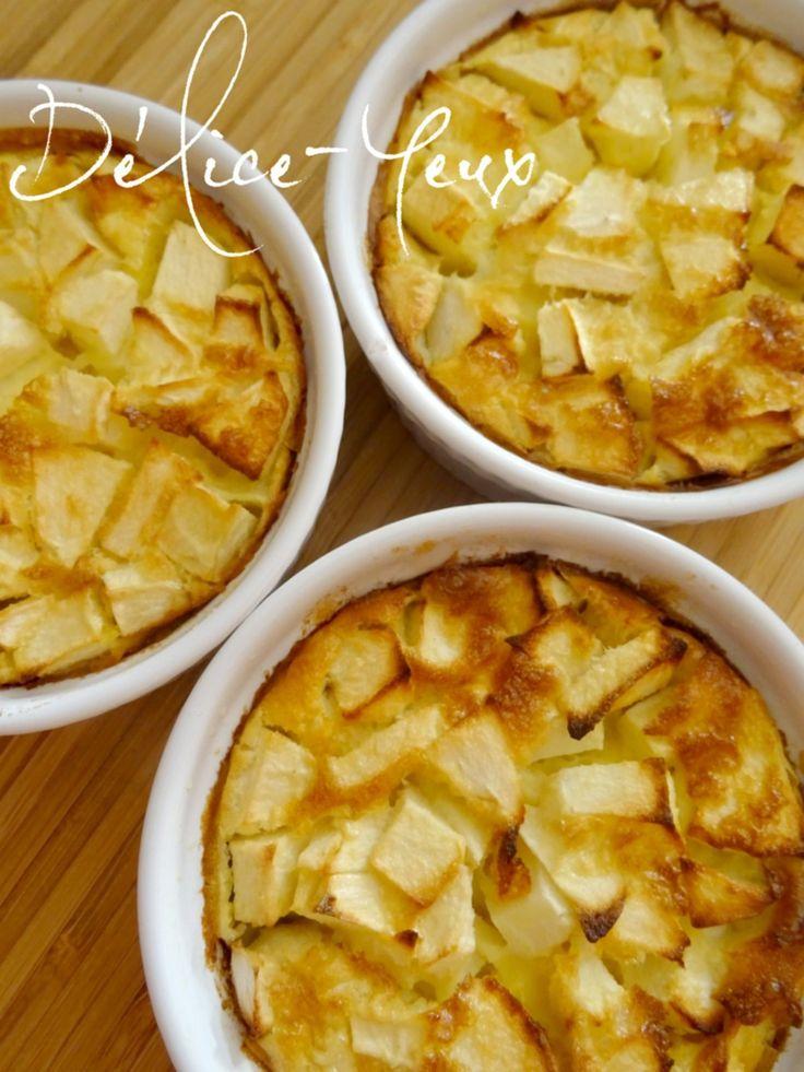 Clafoutis à la pomme individuels {Ou comment improviser un dessert avec un œuf et une pomme}