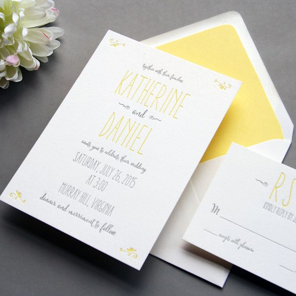 yellow and grey letterpress wedding invitation inspiration