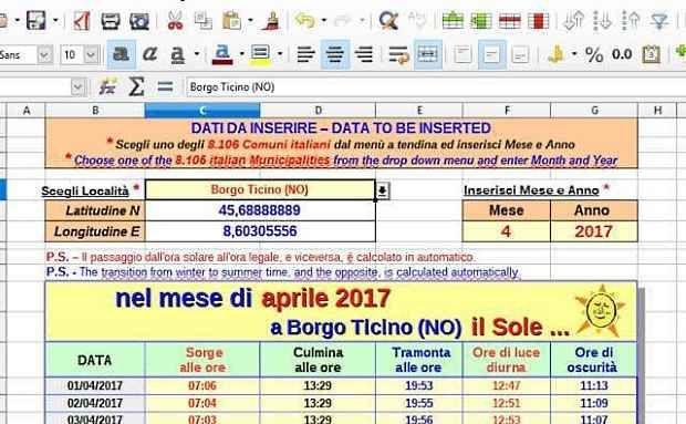 Calcolare le Effemeridi solari con LibreOffice Un foglio elettronico realizzato con LibreOffice Calc, che permette di calcolare le effemeridi solari per ciascuno dei Comuni Italiani. Basta inserire il nome del Comune, il mese e l'anno per ottener #libreoffice #effemeridi #sole #opensource