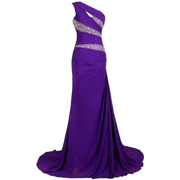 Women's One Shoulder Sparkling Embellished Bridesmaid Long Evening... ($42) ❤ liked on Polyvore featuring dresses, cocktail prom dress, long bridesmaid dresses, purple cocktail dresses, purple bridesmaid dresses and long purple dress