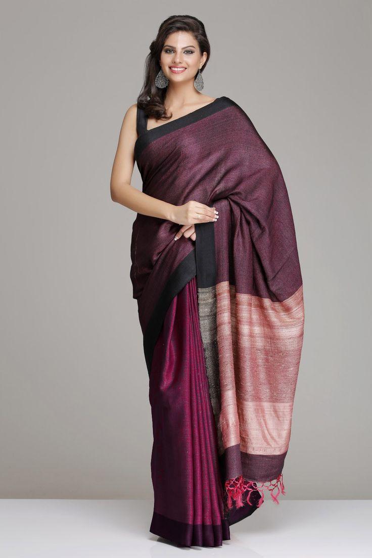 IndiaInMyBag.com Pink & Black Hand Woven Tussar Silk Saree
