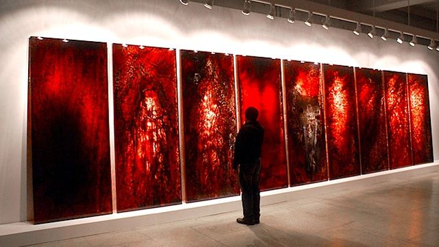 """""""This haunting artwork is made of real blood"""". And at first glance, I thought it was just a shock factor. But after reading about it and the artists vision, I understand it more. Pretty cool and deep."""