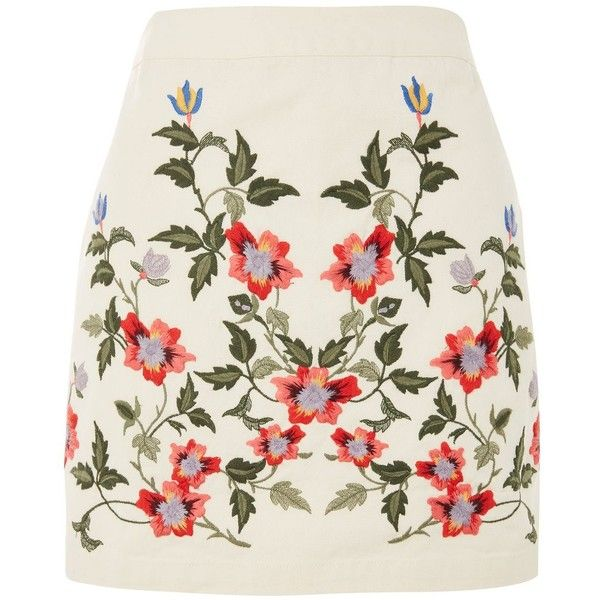 Topshop Petite Ivy Embroidered Skirt found on Polyvore featuring skirts, mini skirts, bottoms, tops, topshop, cream, floral print skirt, cotton short skirts, cotton skirts and cream skirt