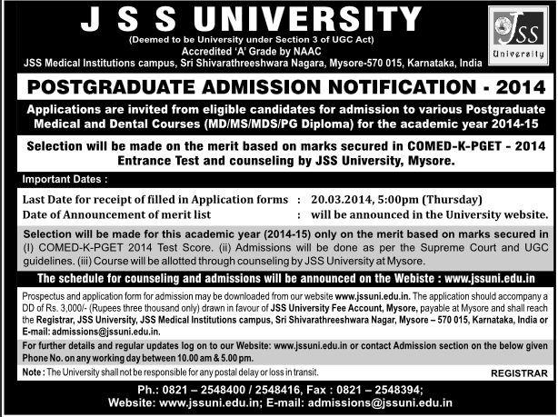JSS University Medical & Dental College Admission 2014 http://www.degreeadmission.com/blog/JSS-University-PG-Medical-Dental-Admissions-Counselling-details-2014/
