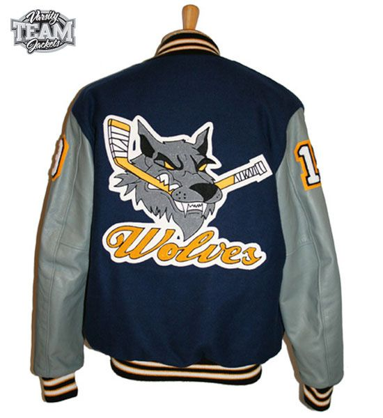 Wolves Ice Hockey team custom wool and leather varsity jacket back with chenille patches by Team Varsity Jackets. www.facebook.com/TeamVarsityJackets www.teamjackets.net