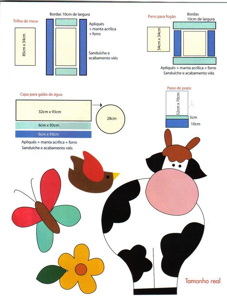 Moldes Para Artesanato em Tecido: Aplicaçao em Tecido jogo de cozinha