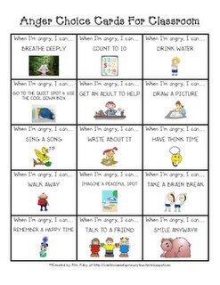 Free!  anger choice cards for the classroom - what to do when you're mad - anger management for kids
